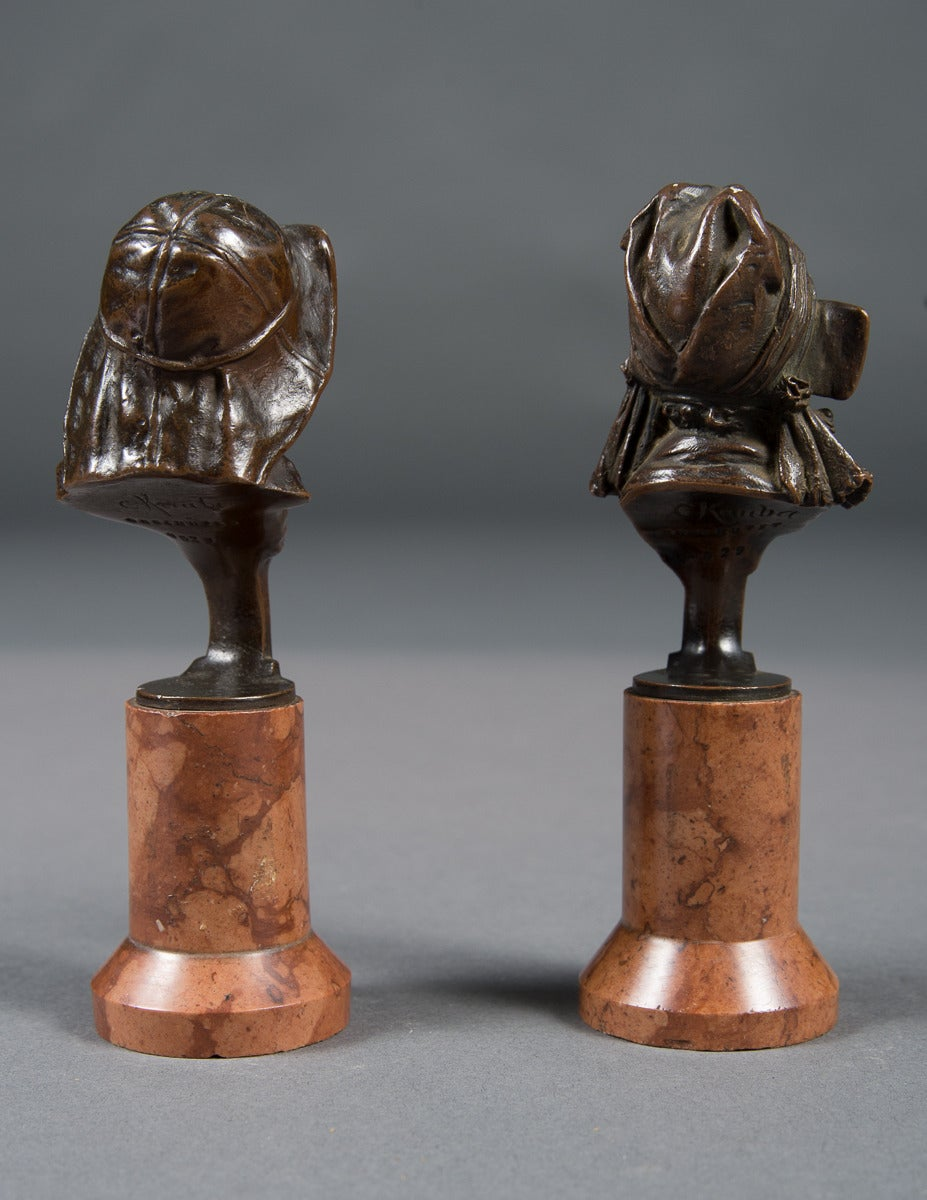 20th Century Pair of Mint Antique Vienna Bronze Busts on Marble Bases For Sale
