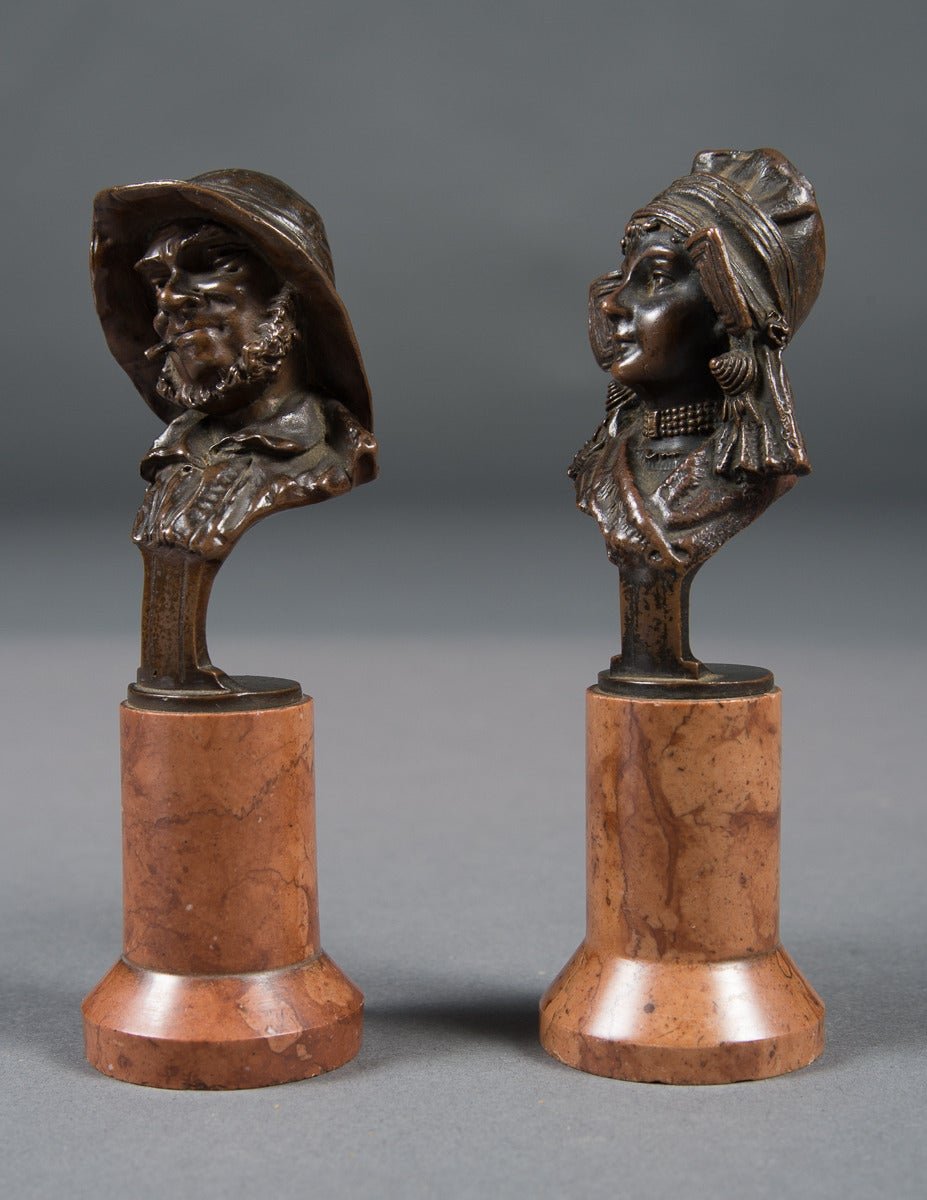 A Pair of Mint Antique Vienna Bronze Busts on Marble Bases  Age: 1920's  Origin: Austria  Depth: 1