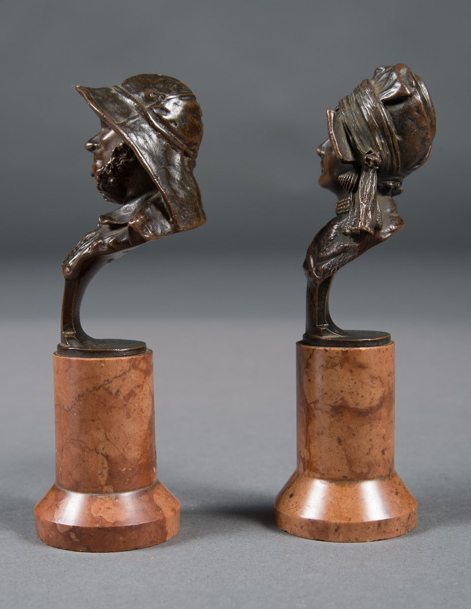Austrian Pair of Mint Antique Vienna Bronze Busts on Marble Bases For Sale