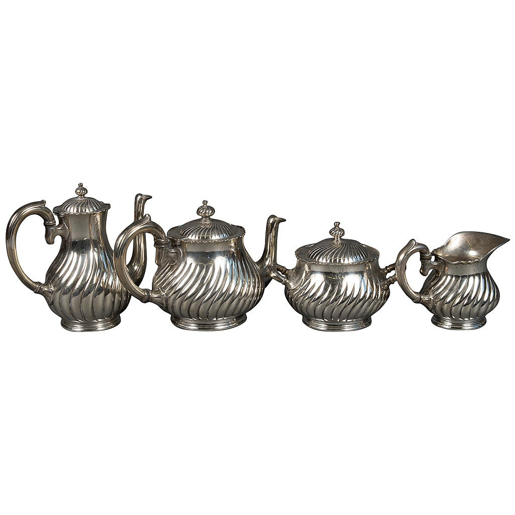Antique Four-Piece Silver Plated Tea Set by Christofle