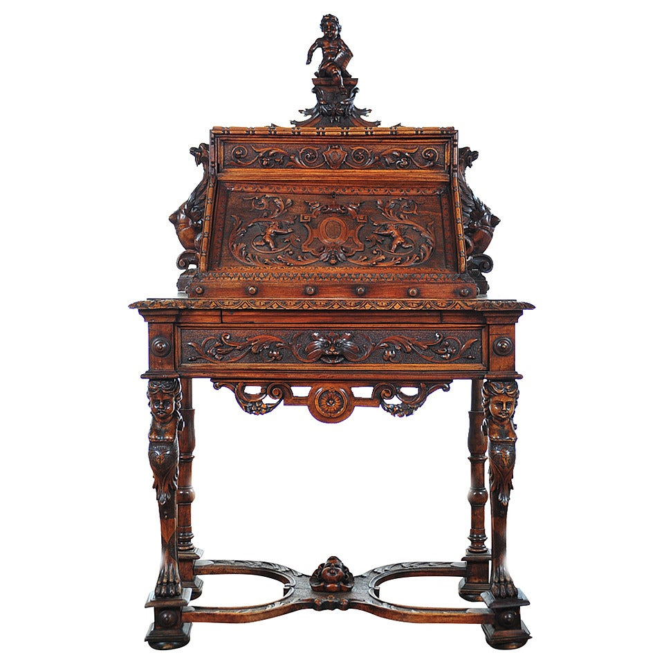 Highly Carved Continental Drop Front Secretary Desk With