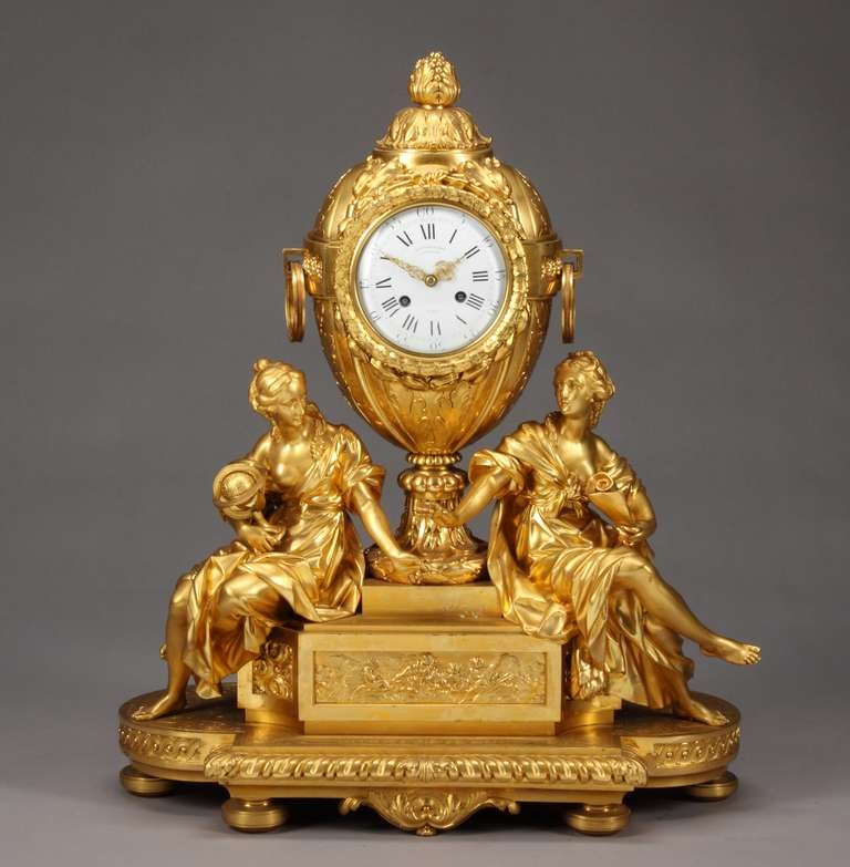 A superb 19th century French gilt bronze figural mantel clock by Victor Paillard (1805-1886).