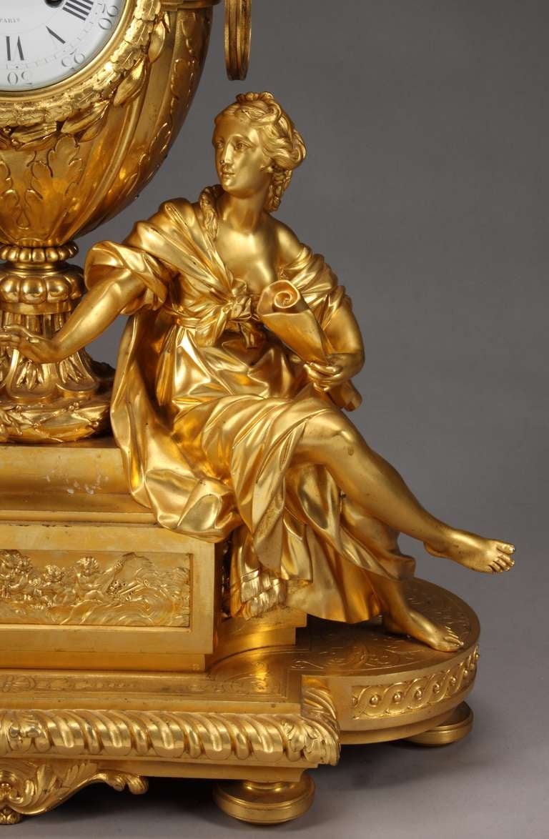 French Ormolu Mantel Clock by Victor Paillard In Excellent Condition For Sale In Los Angeles, CA