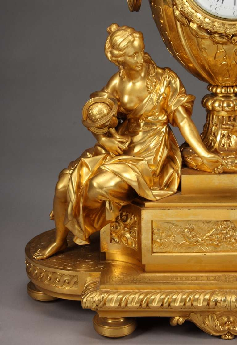 19th Century French Ormolu Mantel Clock by Victor Paillard For Sale