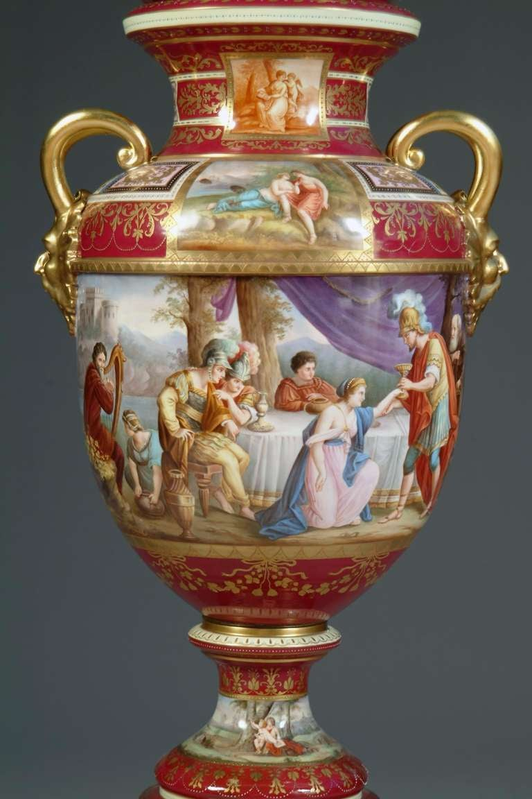 Large Austrian Royal Vienna Style Porcelain Hand Painted Baluster Vase In Good Condition For Sale In Beverly Hills, CA