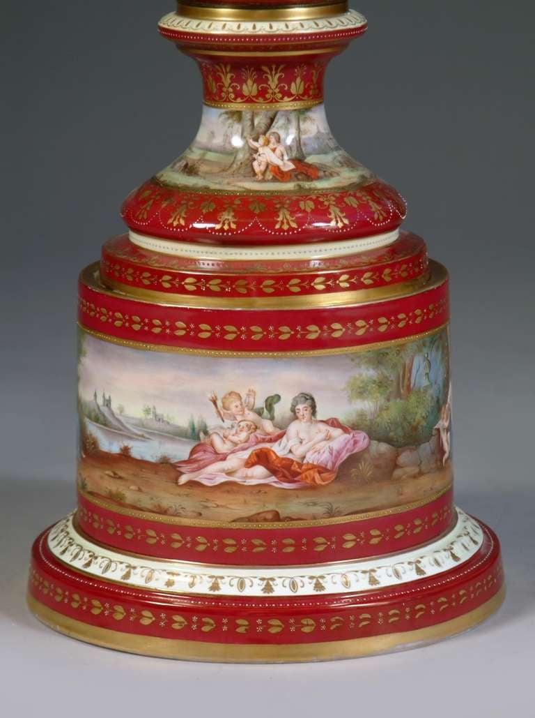 Large Austrian Royal Vienna Style Porcelain Hand Painted Baluster Vase For Sale 2