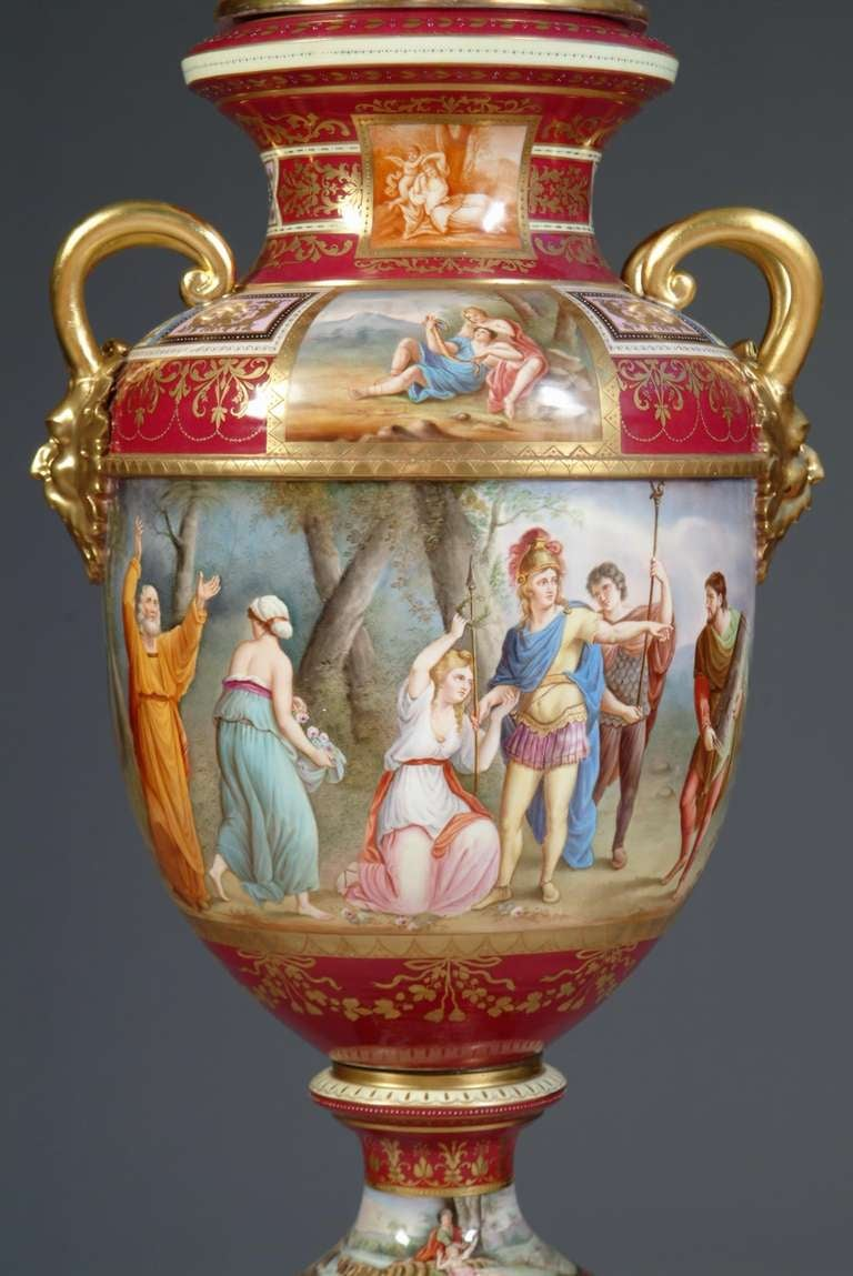 19th Century Large Austrian Royal Vienna Style Porcelain Hand Painted Baluster Vase For Sale