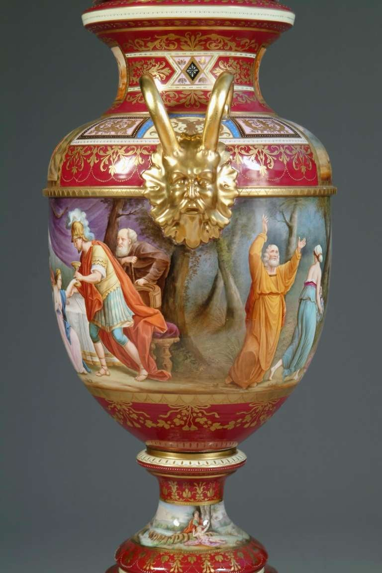 Large Austrian Royal Vienna Style Porcelain Hand Painted Baluster Vase For Sale 3