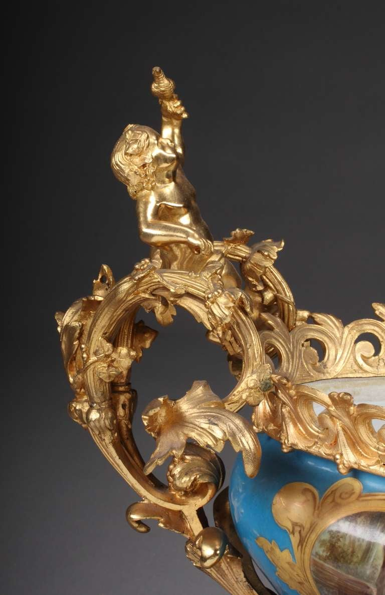 French Sevres Porcelain Gilt Bronze Mounted Centerpiece In Excellent Condition For Sale In Beverly Hills, CA