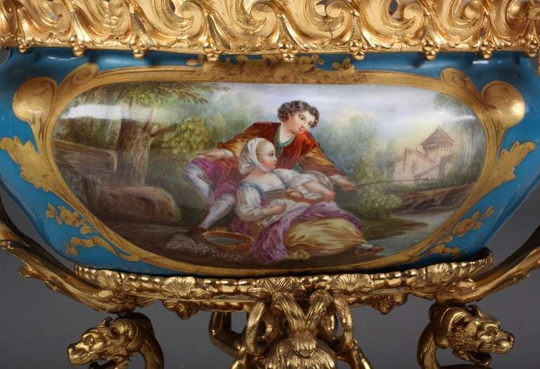 19th Century French Sevres Porcelain Gilt Bronze Mounted Centerpiece For Sale