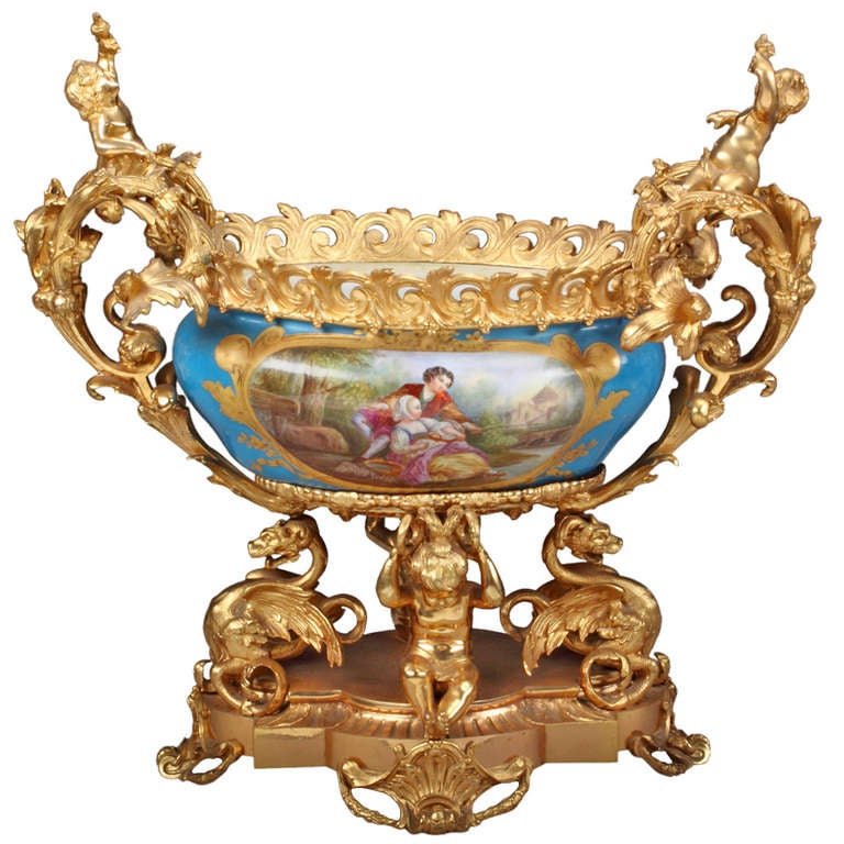 French Sevres Porcelain Gilt Bronze Mounted Centerpiece For Sale