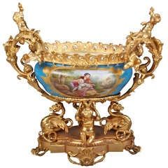 French Sevres Porcelain Gilt Bronze Mounted Centerpiece