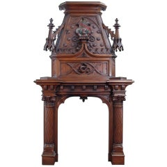 Monumental Gothic Style Carved Walnut Fireplace