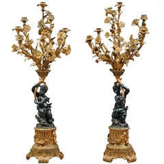 Pair of Antique French Bronze Figural Candelabras
