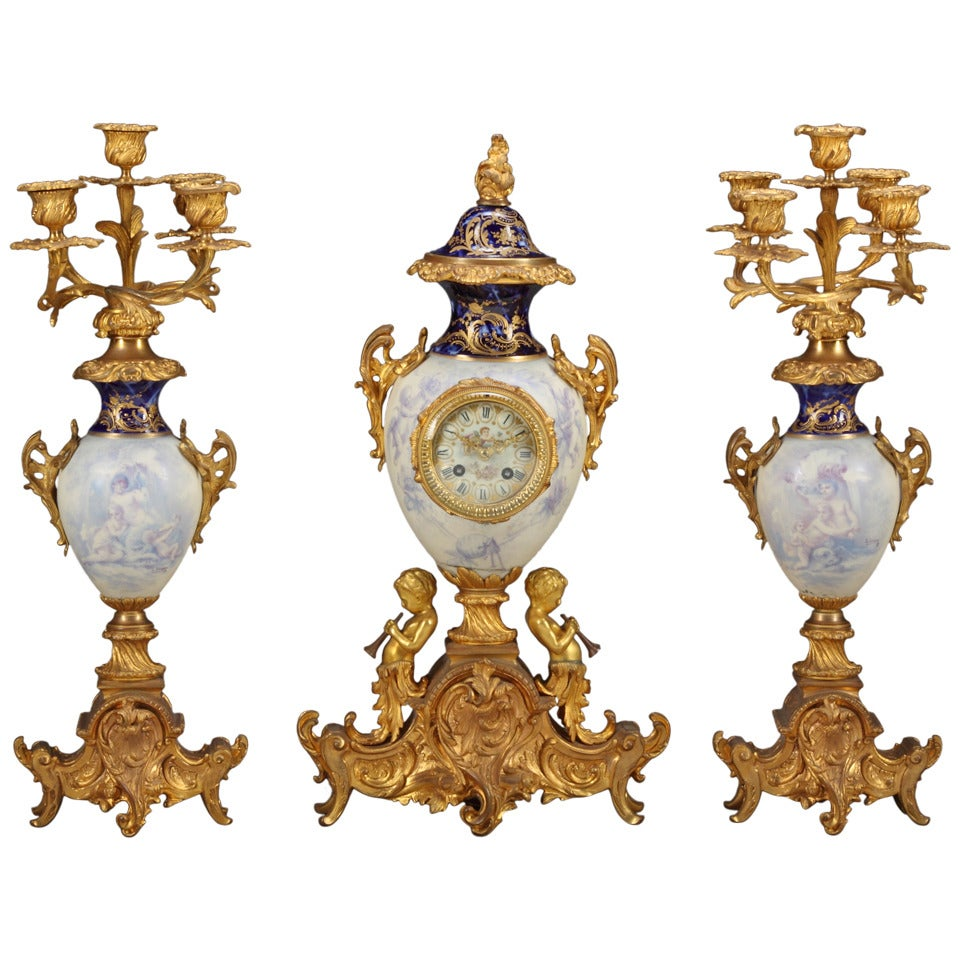 19th Century French Sevres Style Figural Garniture Clock Set