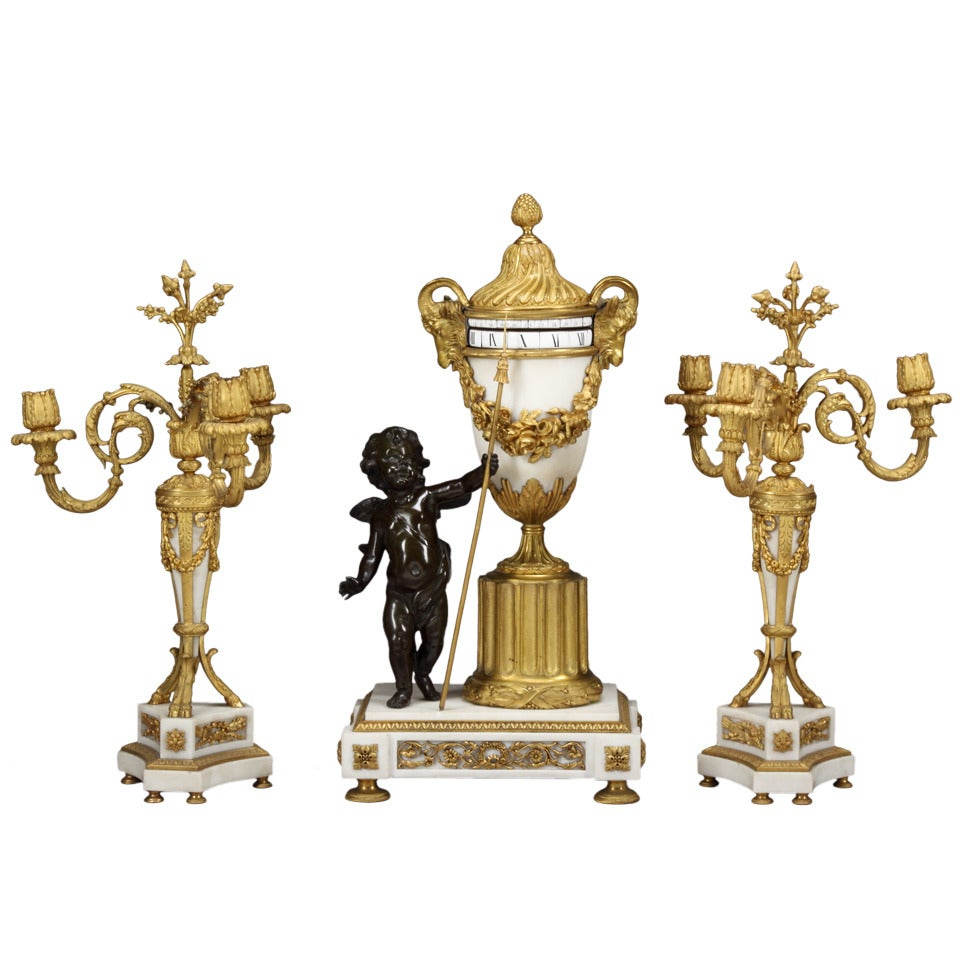 Unusual 19th Century French rotary Clock Garniture