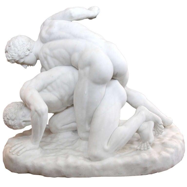A monumental Italian Carrara Marb Sculpture of Roman Wrestlers by Antonio Frilli