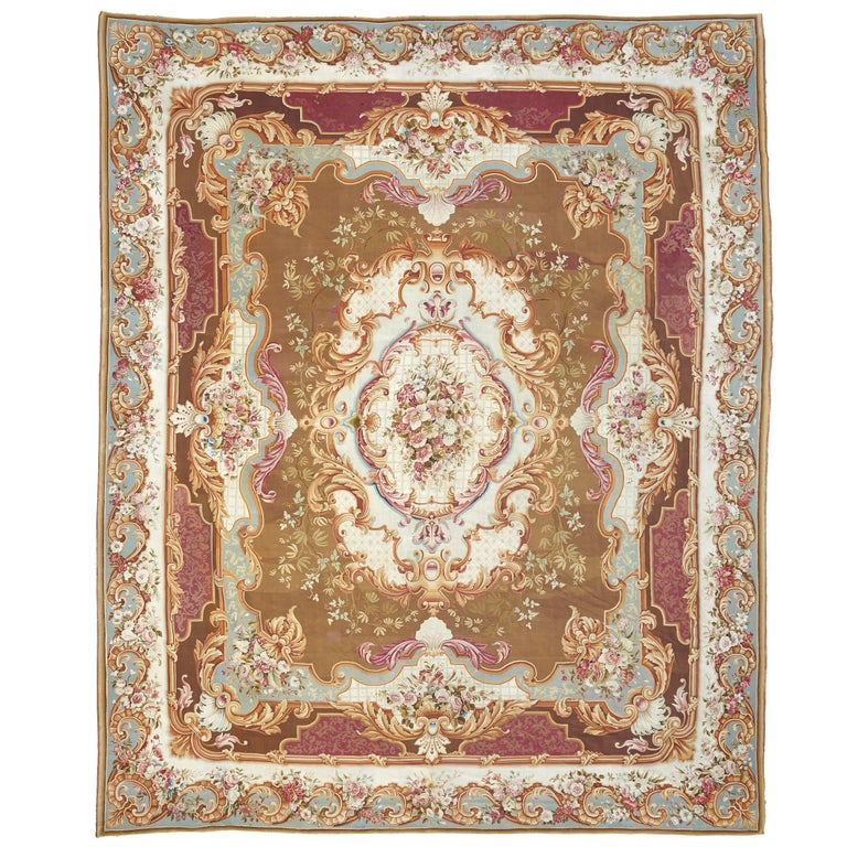 Large Aubusson Rug: Large And Ornate 19th Century French Aubusson Rug For Sale
