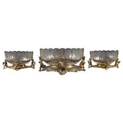 Three-Piece German Sterling Silver & Gold Wash Applied Table Garniture