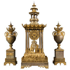 Very Fine 19th Century French Chinoiserie Silver and Gilt Three-Piece Garniture