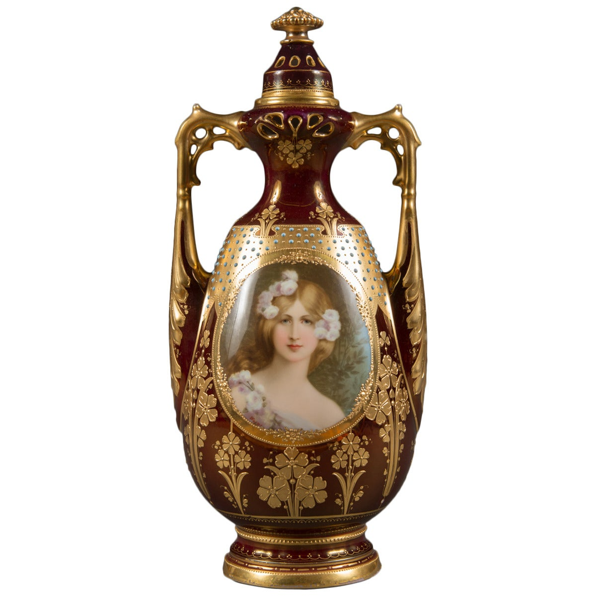Royal Vienna Porcelain Jeweled Iridescent Portrait Vase