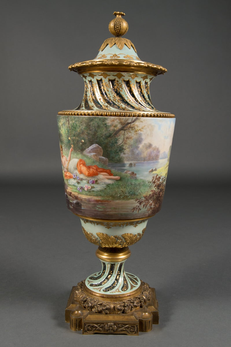 A Very Fine & Large Austrian Antique Royal Vienna Gilt Bronze Mounted Lidded Vase