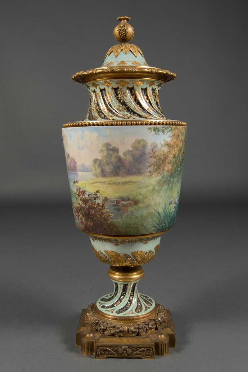 Art Nouveau Very Fine Austrian Antique Royal Vienna Bronze Mounted Lidded Vase, circa 1890 For Sale