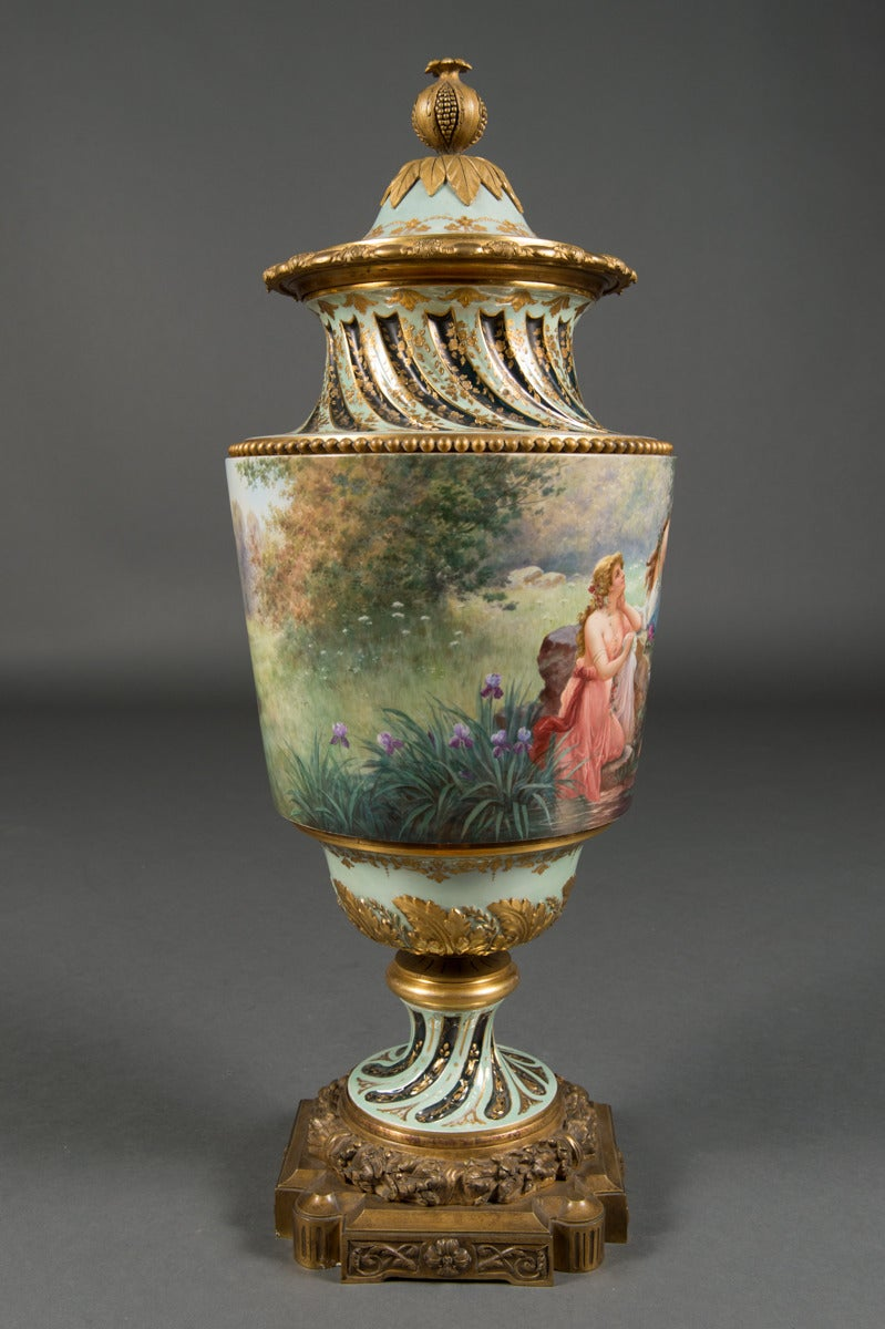Gilt Very Fine Austrian Antique Royal Vienna Bronze Mounted Lidded Vase, circa 1890 For Sale