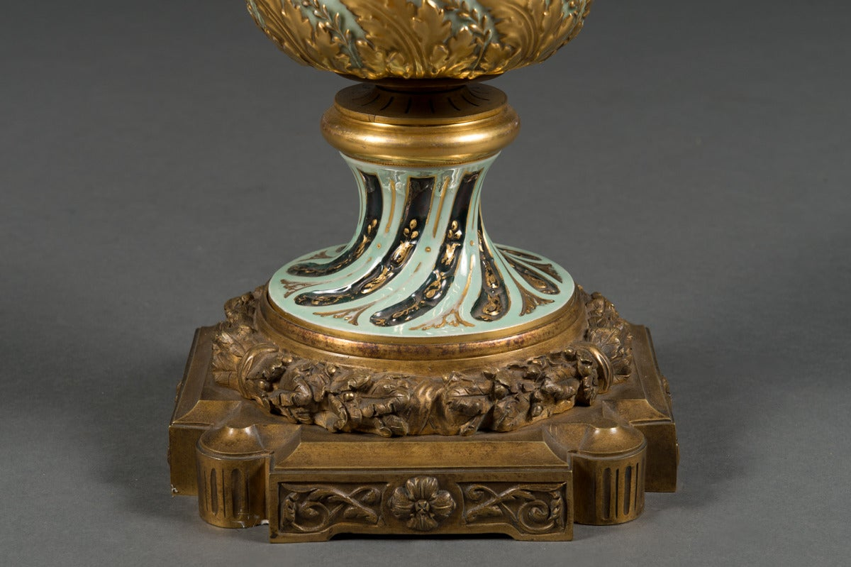 Very Fine Austrian Antique Royal Vienna Bronze Mounted Lidded Vase, circa 1890 For Sale 1