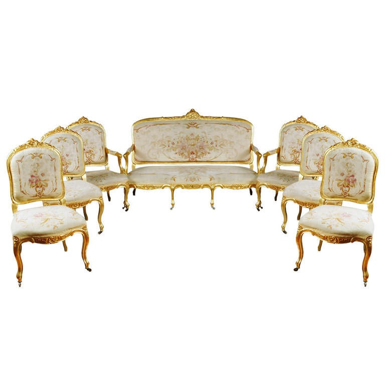 A Fine 19th C. French Napoleon III Gilt Sood Aubusson Tapestry Salon Suite 1