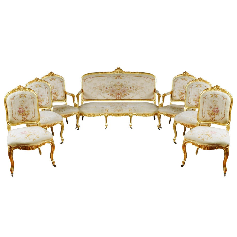 19th Century French Giltwood Aubusson Tapestry 7-Piece Salon Suite