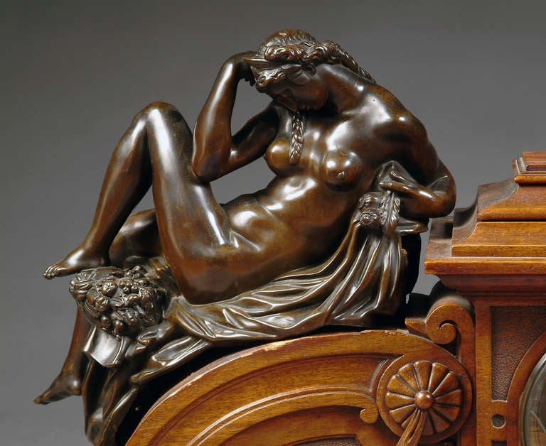A magnificent 19th century French Renaissance Revival patinated bronze mounted carved walnut