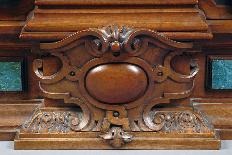 19th Century Large French Renaissance Revival Bronze Mounted Carved Walnut Mantel Clock For Sale