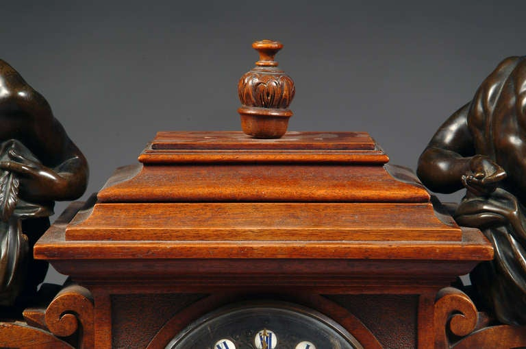 Large French Renaissance Revival Bronze Mounted Carved Walnut Mantel Clock For Sale 2