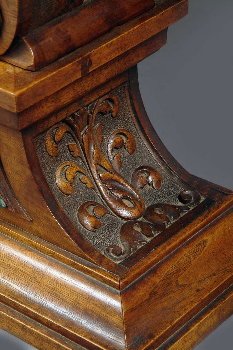 Large French Renaissance Revival Bronze Mounted Carved Walnut Mantel Clock For Sale 4