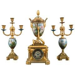 A French Antique Gilt Bronze & Porcelain 3-Piece Clock Garniture