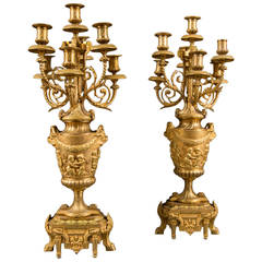 A Pair of 19th Century French Gilt Bronze Seven-Branch Candelabras