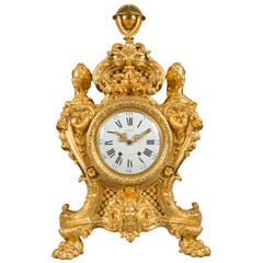 Monumental Ormolu Bronze Clock Mantel by Maison Marquis Movement by Languereau