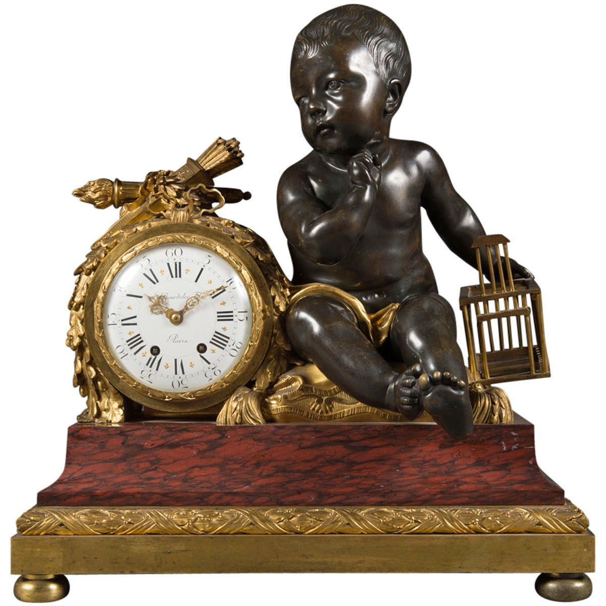 french rouge marble gilt and patinated bronze mantel clock by alfred beurdeley 1 - Mantel Clock