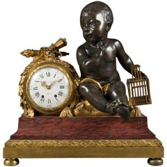 French Rouge Marble Gilt and Patinated Bronze Mantel Clock by Alfred Beurdeley