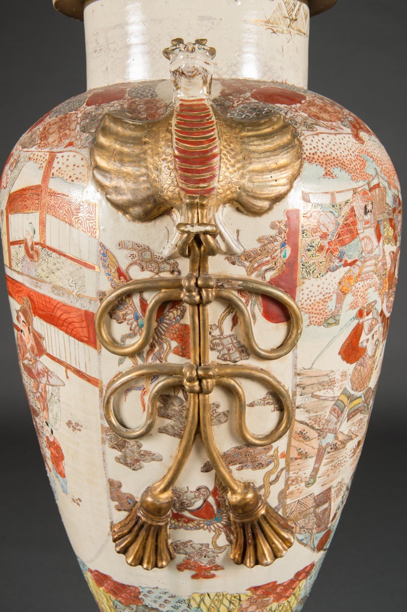 Large and monumental japanese satsuma vase with base and cover a large and monumental japanese satsuma vase with base and cover japan meiji period reviewsmspy