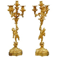 Pair of French gilt-Bronze Candelabras