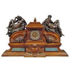 Large French Renaissance Revival Bronze Mounted Carved Walnut Mantel Clock