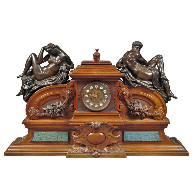 Large French Renaissance Revival Bronze Mounted Carved Walnut Mantel Clock For Sale