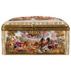 Early 20th Century Italian Capodimonte Brass Mounted Box, Circa 1920