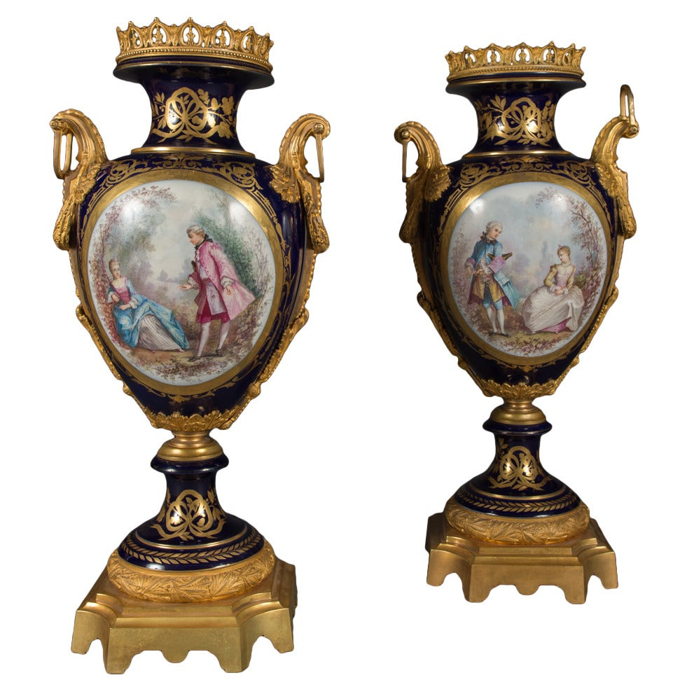 Pair of large antique french sevres style ormolu mounted and pair of large antique french sevres style ormolu mounted and painted vases for sale reviewsmspy