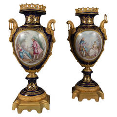 Pair of Large Antique French Sevres Style Ormolu-Mounted and Painted Vases