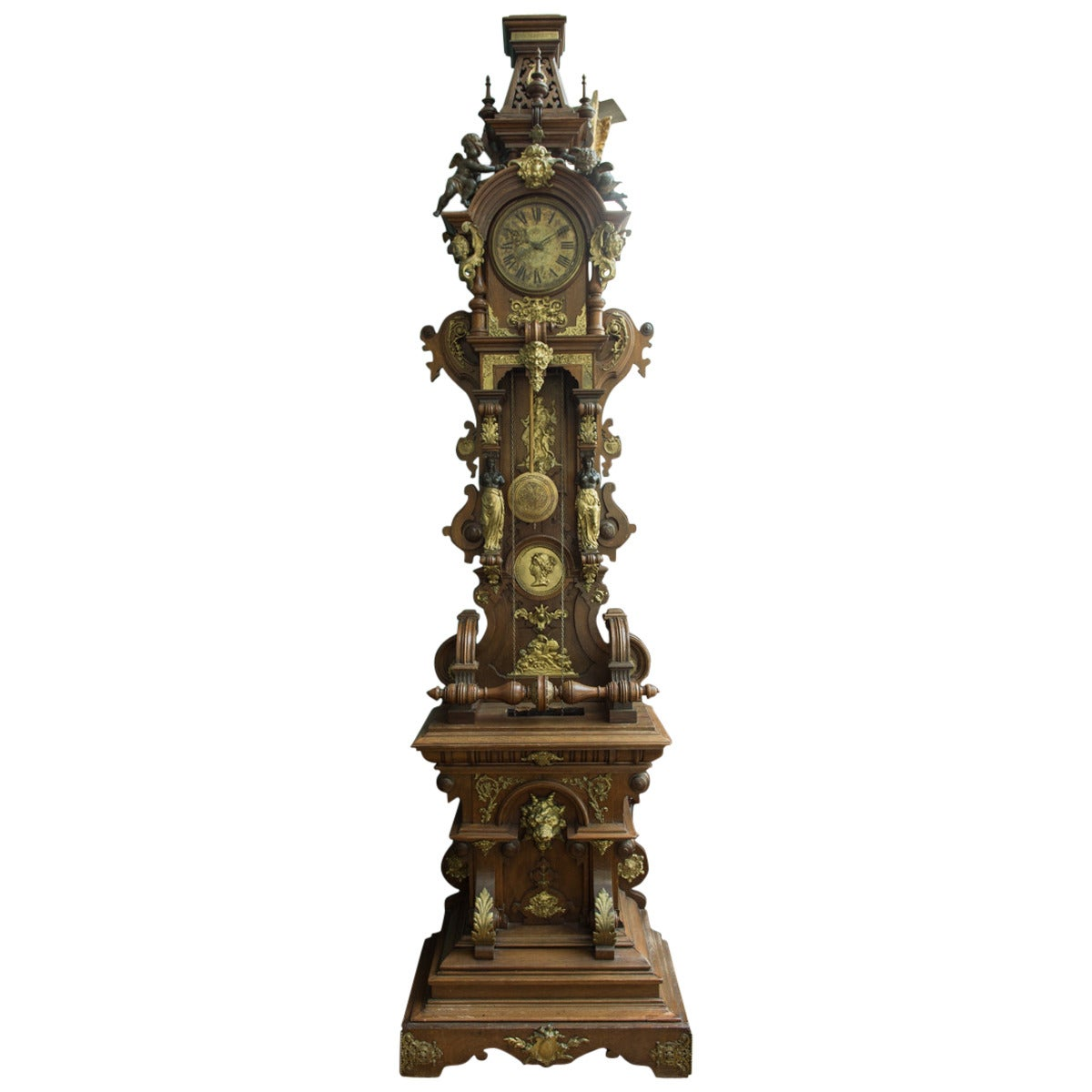 A fine austrian antique patinated and ormolu mounted oak grandfather clock for sale at 1stdibs - Wall mounted grandfather clock ...