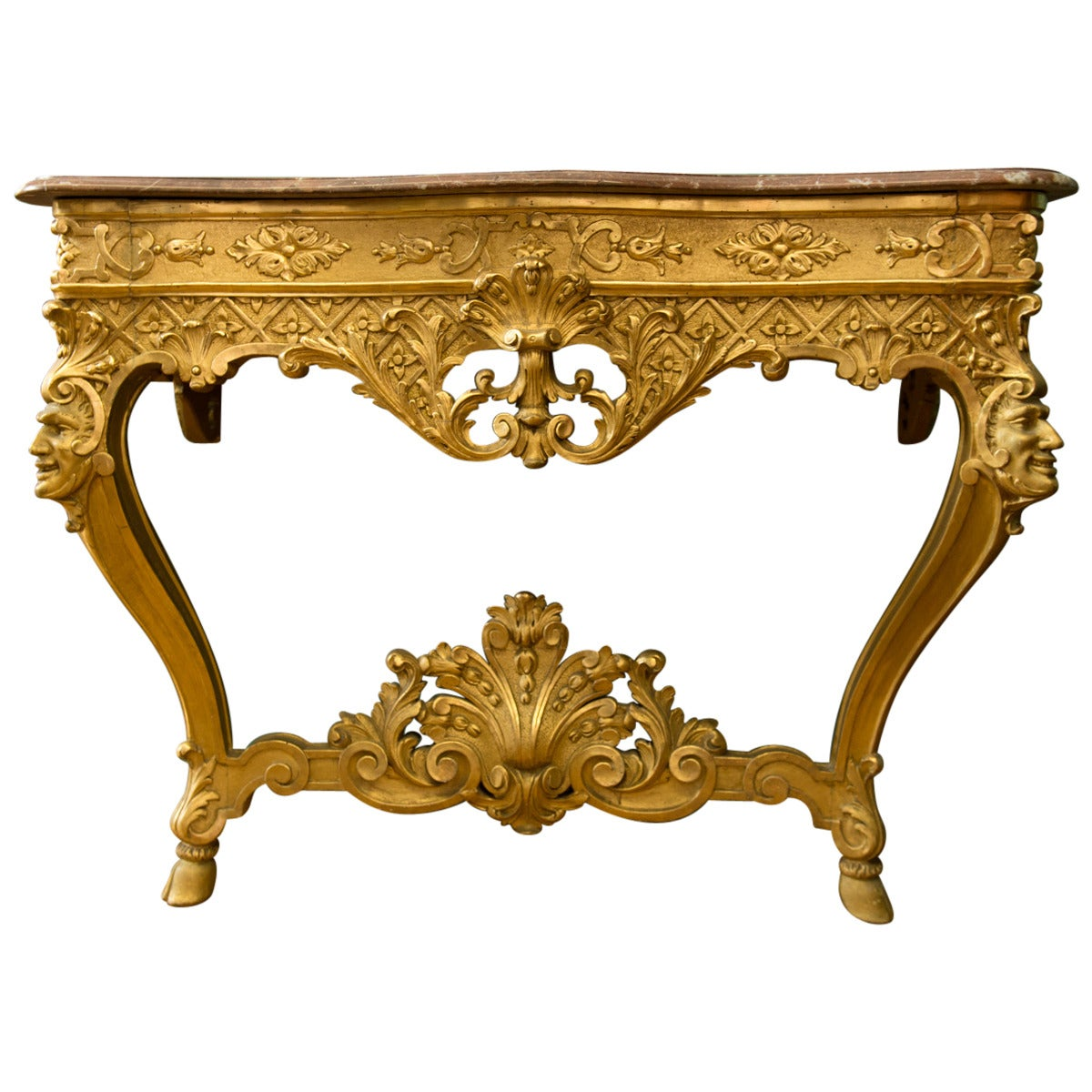 Italian Antique Carved Giltwood Louis XV Style Console Table 1 - Italian Antique Carved Giltwood Louis XV Style Console Table At