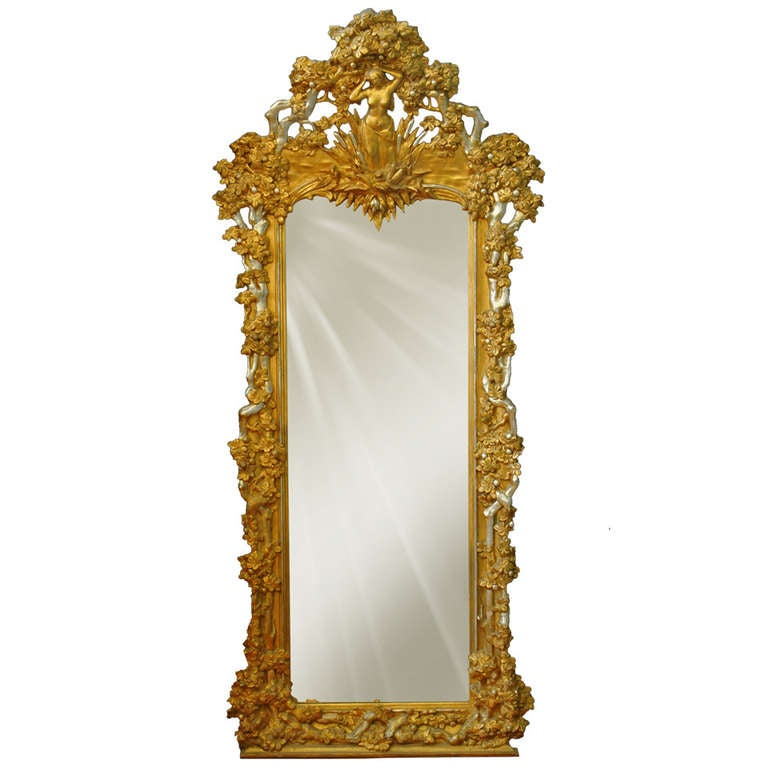 A french napoleon iii gilt and silvered carved wood and for Wood floor length mirror